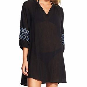 Seafolly | Black Embroidery Sleeve Coverup Dress